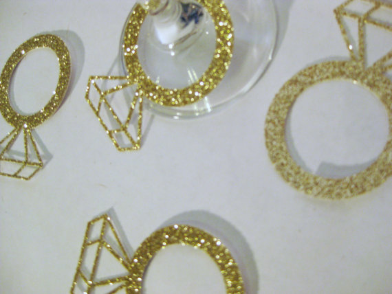 glitter gold diamond-ring glass Charms Wine Tags Name cards Markers Wedding  Bridal Engagement Shower Bachelorette Party d008f00247b1