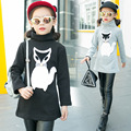 Children Clothes Winter Sweatshirts Girls Cartoon Fox Printing Kids Long Tops Turtle Neck Top Three Colors Patchwork Long Sleeve