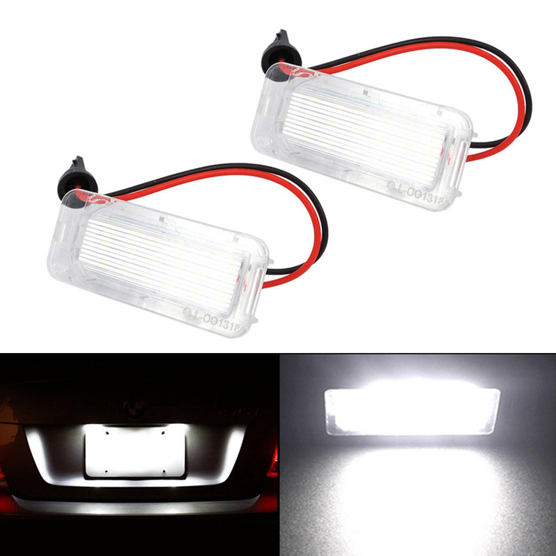 SITAILE 2pcs 12V License Plate Light Auto LED Lamps For Ford Focus Fiesta Mondeo MK4 Kuga Galaxy S-max C max Mk2 MK3 MK6 2pcs error free for ford fiesta ja8 focus s max c max mondeo kuga galaxy 2010 18smd car led license plate light lamp oem replace