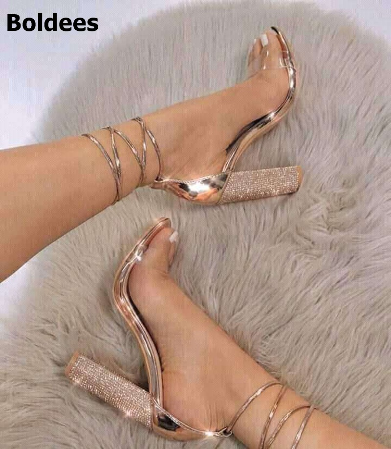 2018 Women Sandals Shoes High Heels Sandals Block Chunky Heels Rose Gold 11cm Lace Up Ankle Strap Sandals Open Toe Size 43