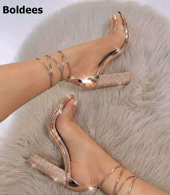 3dd640b1222f 2018 Women Sandals Shoes High Heels Sandals Block Chunky Heels Rose Gold  11cm Lace Up Ankle Strap Sandals Open Toe Size 43