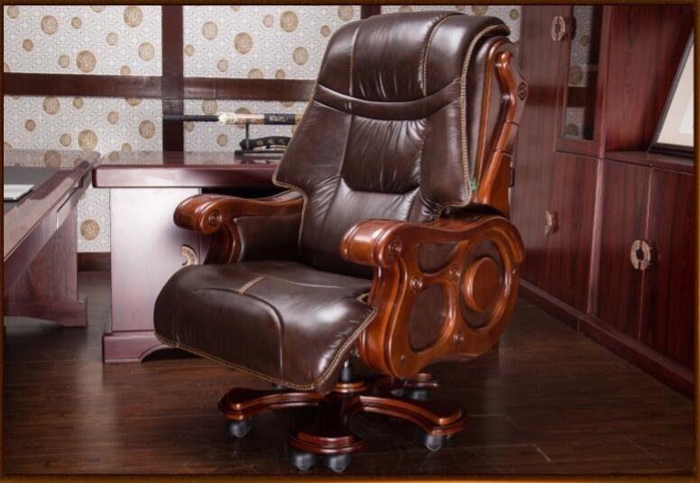 Luxurious Solid Wood Chair Office Chair Computer Chair Can Lie On Cowhide Massage Boss Chair.