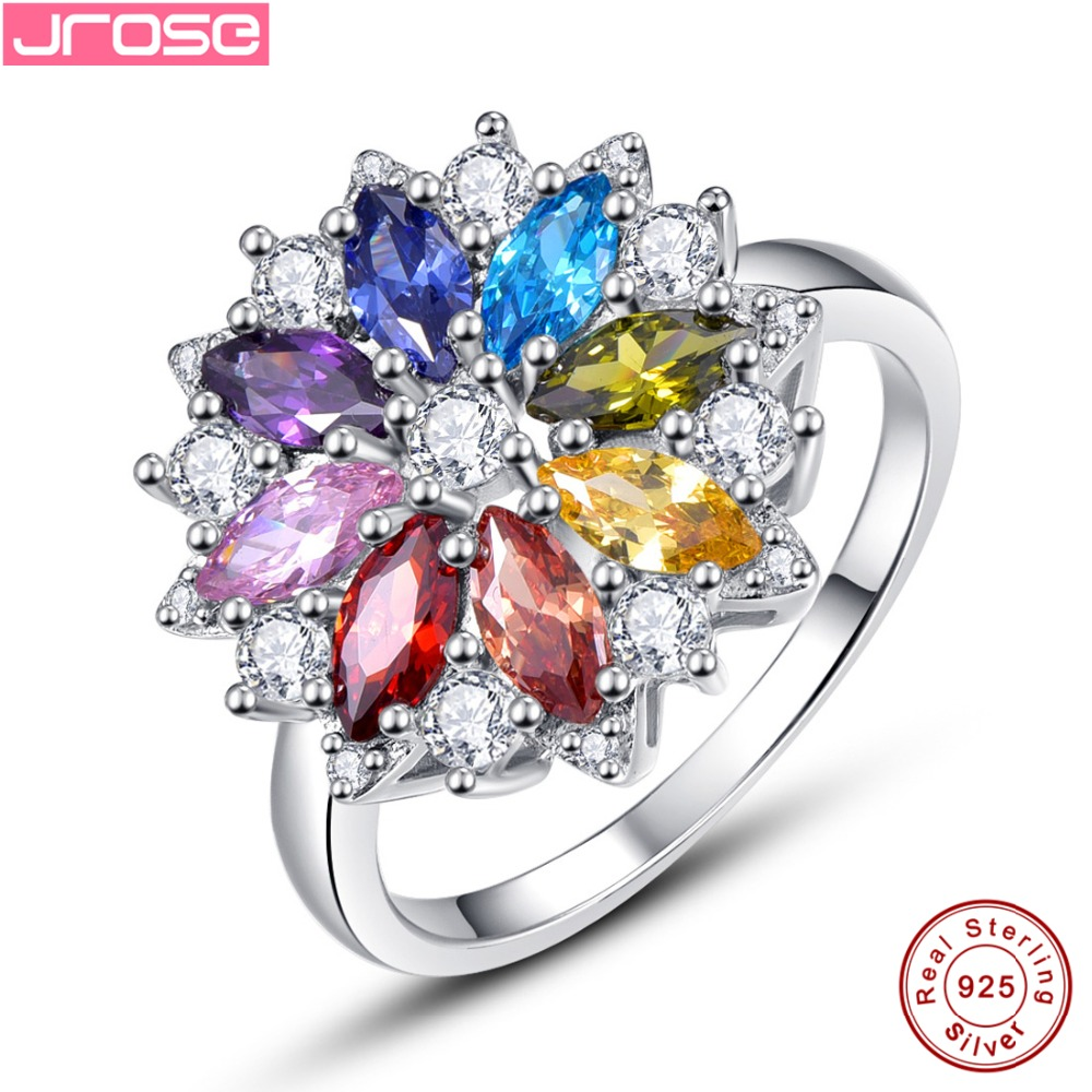 Jrose Brand New 2.11CT Purple Garnet Peridot 8 Colors Flower Solid 100% 925 Sterling Silver Gem Stone Ring for Woman Gift