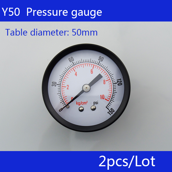 Free Shipping 2pcs small pressure gauge Y50 axial pressure gauge, thread 1/4
