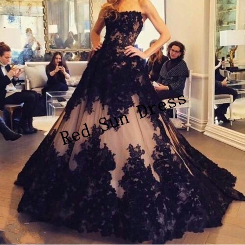 robe soiree gorgeous black strapless ball gown evening dresses 2016 ...