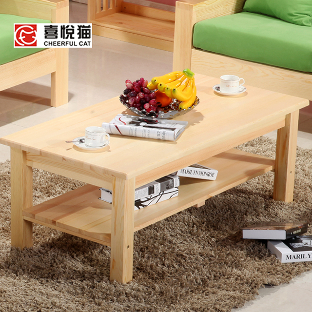 Solid wood furniture tea tables and chairs combination living room coffee  table small rectangular glass top