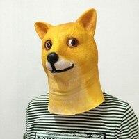 Drôle Tête Doge 3D Latex Masque Cosplay Halloween Costume Dieu Chien Tête Plein Visage Adulte Masque Respirant Halloween Mascarade Partie