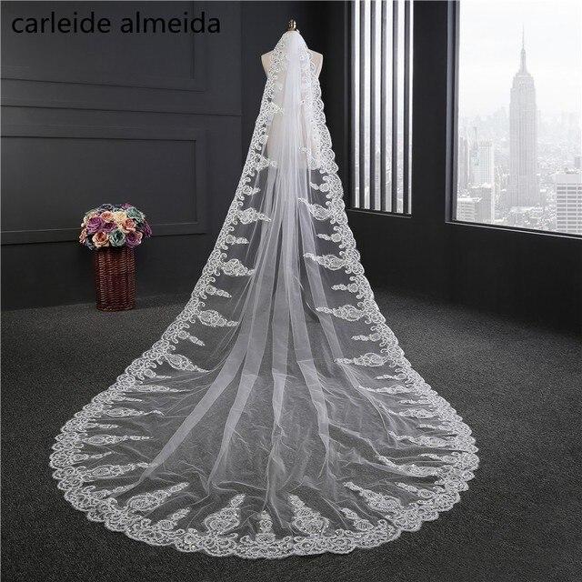 e267b51a43 3.5M length Wedding Veil with Comb Lace Appliques Wedding accessories One  Layer Velos de novia 2018 Bruids haaraccessoires