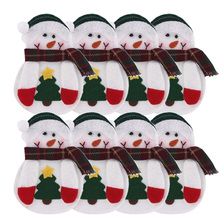 8pcs Xmas Decor Lovely Snowman Kitchen Tableware Holder Pocket Dinner Cutlery Bag Party Christmas table decoration cutlery sets