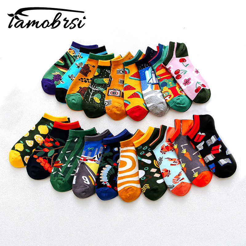 Creative Spring Fashion Summer Happy   Socks   Women Men Couple Boat   Sock   Slippers Street Creative Funny Candy Cotton Ankle   Socks