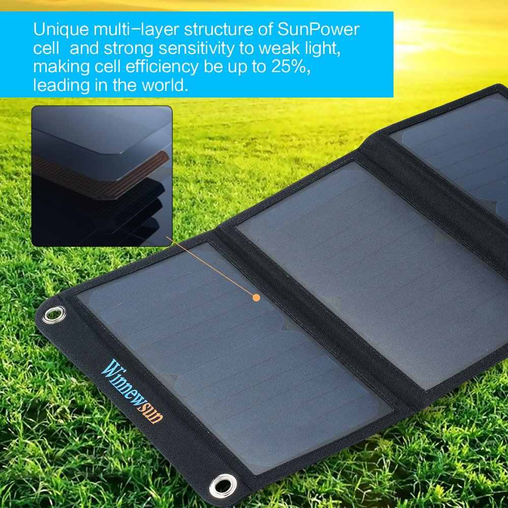 21 W المحمولة شاحن بالطاقة الشمسية للهاتف المحمول فون في الهواء الطلق 5 V لوحة شمسية قابلة للطي عالية الكفاءة الشمسية USB شاحن بطارية