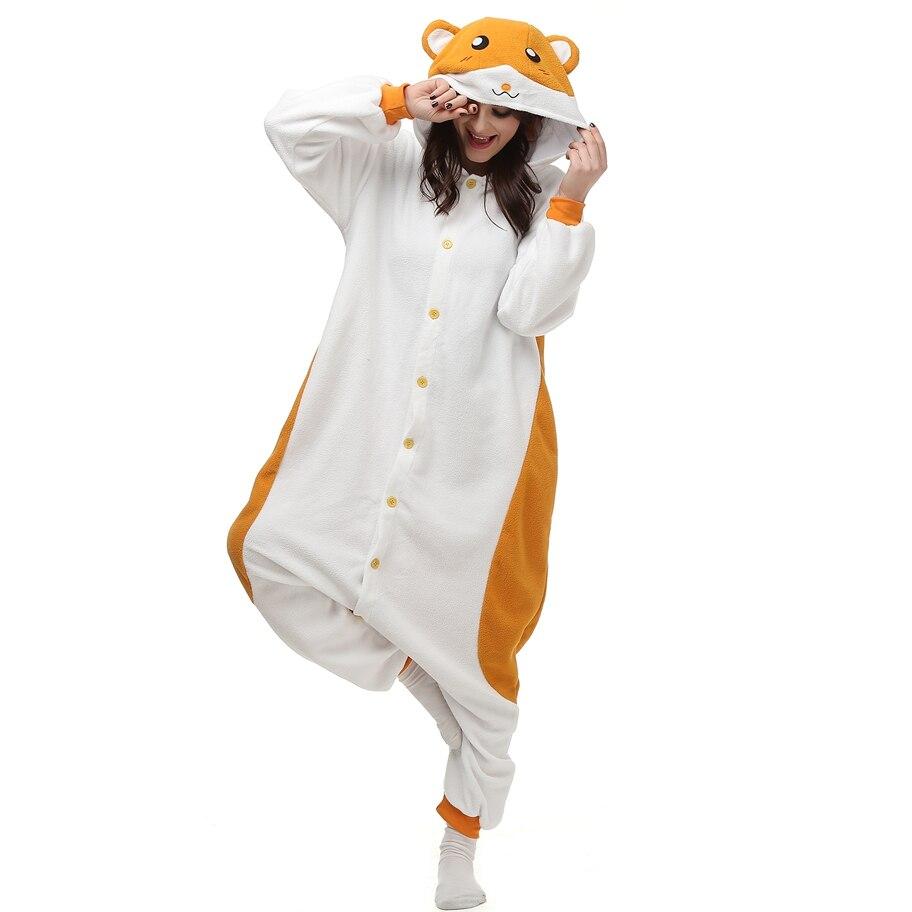 Adult Polar Fleece Kigurumi Hamtaro Cosplay Costume Cartoon Animal Onesies Pajamas Halloween Carnival Masquerade Party Jumpsuit
