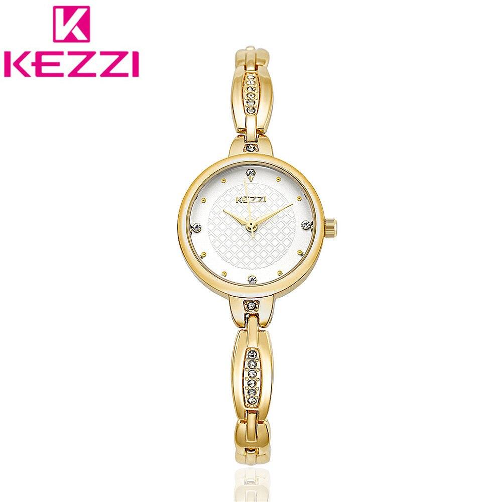 KEZZI KW 1487 Brand Fashion Women Gold Luxury Bracelet Wristwatch Ladies Famous Quartz Watch Relogio Feminino