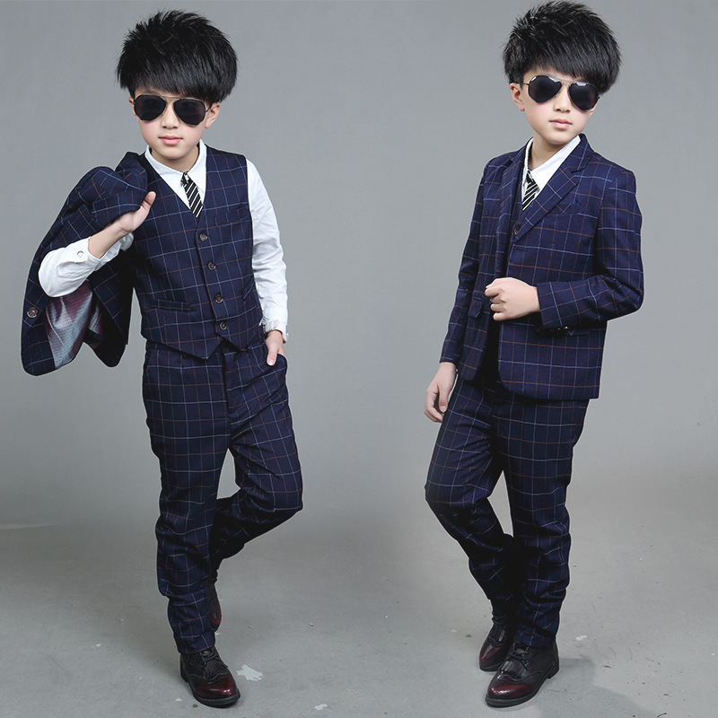 children clothing big boy clothes sets Boy spring suit plaid blazer jackets+vest+pants boys formal dress Boys gentleman suits boys formal plaid suit wedding clothes fashion children party clothing sets spring autumn baby classic gift costume kid hot sale