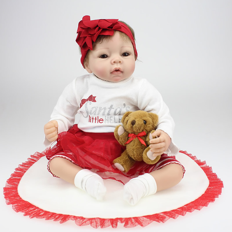 22 Inch Lifelike Reborn Baby Doll Girl Collectible Soft Silicone Newborn Babies Dolls So Real Children Birthday Gift Playmate