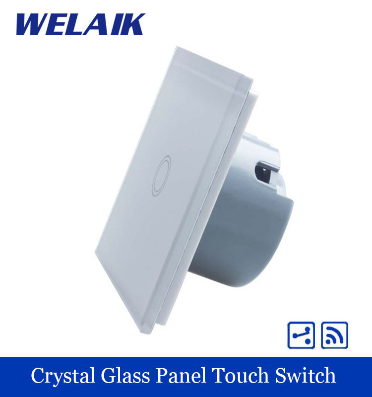 WELAIK Crystal Glass Panel Switch White Wall Switch EU Remote Control Touch Switch Light Switch 1gang2way AC110~250V A1914XW/B wall light free shipping 2 gang 1 way remote control touch switch eu standard remote switch gold crystal glass panel led
