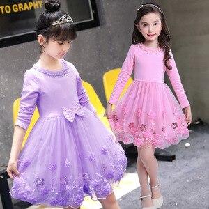 ¡Novedad de primavera 2020! Vestido de princesa para niñas, vestidos infantiles de encaje de manga larga con lazo Floral, traje para niñas de 4, 6, 8, 9, 10 y 13 años
