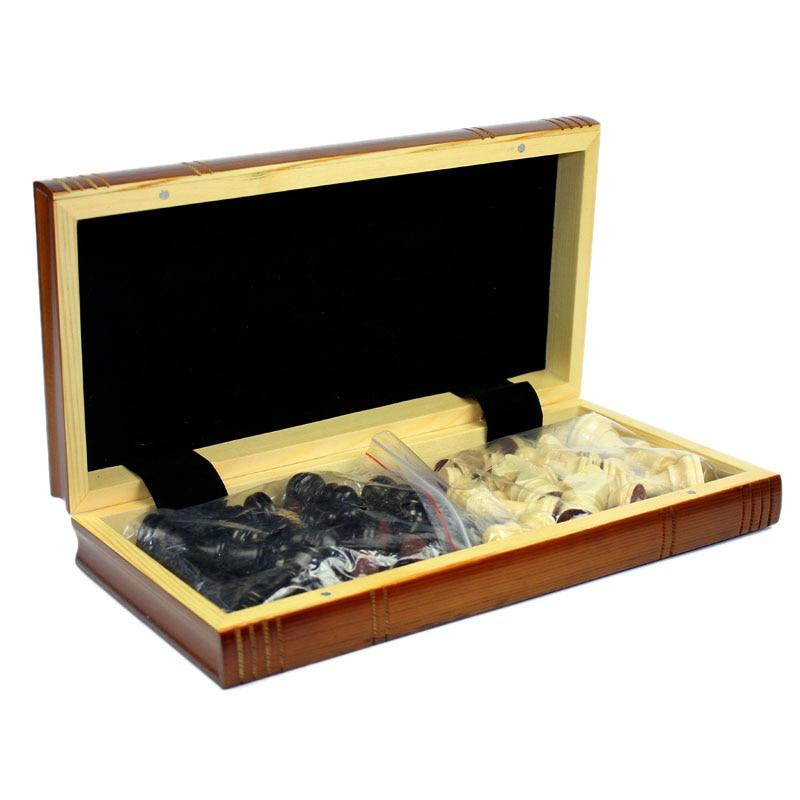 High Grade Coffee Lattice Books Shape Folding Wooden Table Box Chess Set King 75mm Wood Solid Chessman Board Games Children Gift 4