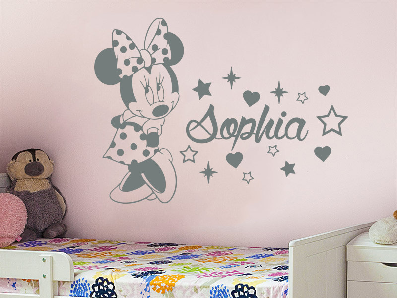 Aliexpress.com : Buy Minnie Wall Decal Custom Name For Girls Bedroom Vinyl Wall  Stickers Kids Room Personalized Name Animal Mouse Nursery DecorSYY963 From  ... Part 83