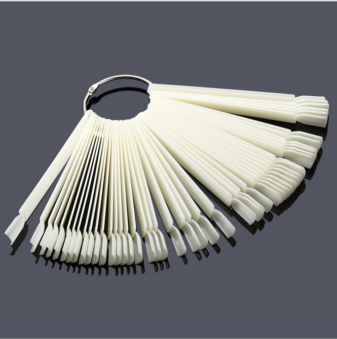 1Set 50 Sticks Natural Fan Shaped Nail Display Tips, DIY Practice Salon Nail Board Set, Nail Art Display