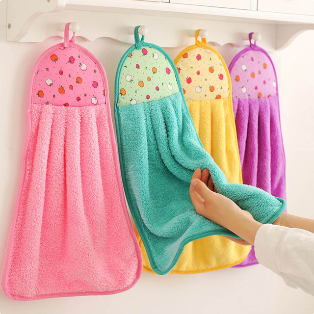US $0.27 30% OFF|Coral Velvet Bathroom Supplies Soft Hand Towel Absorbent  Cloth Dishcloths Hanging Lint Free Cloth Kitchen Accessories-in Hand Towels  ...