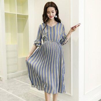 4a7be25f1 2207   rayas verticales de maternidad de gasa largo vestidos de cuello en V  Slim cintura encantadora ropa para mujeres embarazadas elegante embarazo