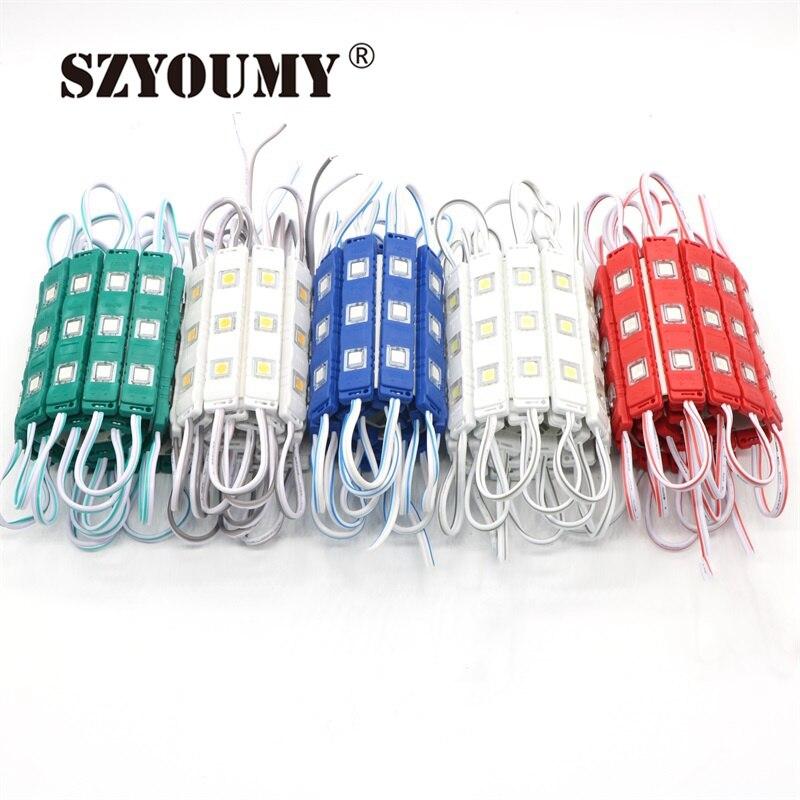 SZYOUMY 3 светодио дный модуль с объективом Водонепроницаемый 5050 SMD новые светодио дный модули 0,75 Вт DC12V красный/зеленый/синий /желтый/белый 1000 ш...