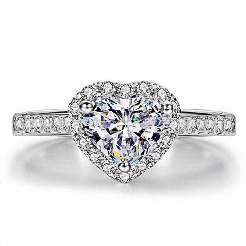 Real 925 แหวนเงินผู้หญิงหรูหราเครื่องประดับหัวใจโรแมนติก 2 กะรัต sona แหวนหมั้นเพชรแหวนขนาด 5-10