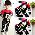 Free Baby Kids Boys Cartoon Micky Mouse Sport Tracksuits 2pcs Outfit Sets Long sleeve Tops Pants Set 1-6Y