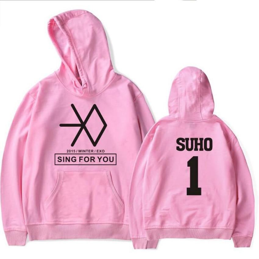 EXO KPOP SING FOR YOU Hoodies Women Men Harajuku Sweatshirt chanyeol baekhyun kris suho lay Long Sleeve Fleece Hooded Tracksuit