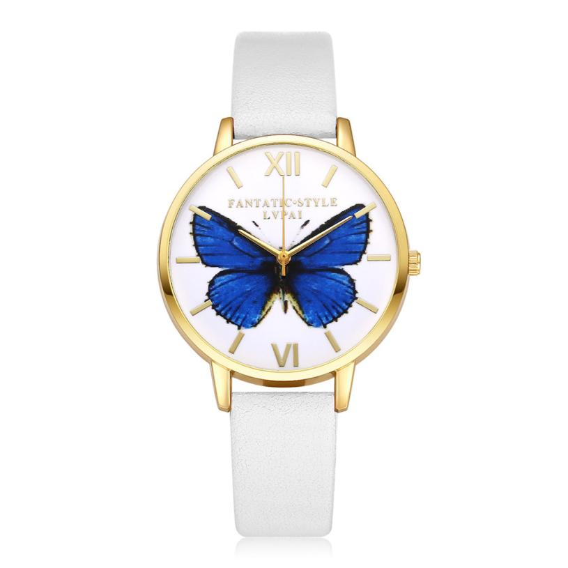 LVPAI dameshorloge Golden Fashion Butterfly lederen band analoge - Dameshorloges