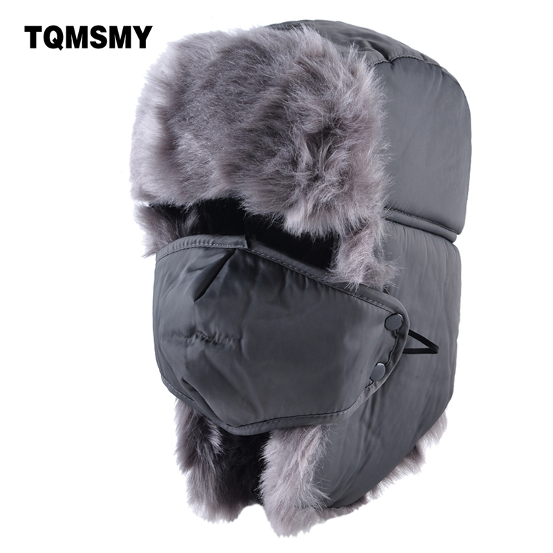 afd35cf1 TQMSMY Solid color bomber hat men winter hats for women masks cap russian  thick warm ear flaps bone ushanka snow lei feng caps-in Men's Bomber Hats  from ...