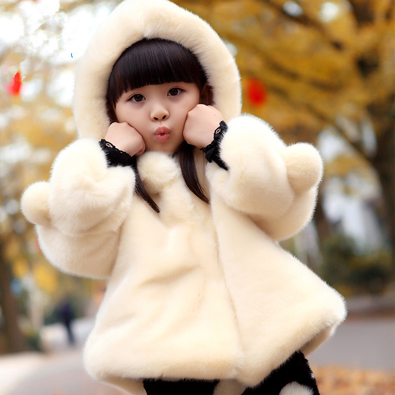 2-12T Girl Winter Clothing Fur Coat Warm Jacket Parka Faux Fur Thicking Hooded Solid Kids Cotton-padded Jacket High Quality