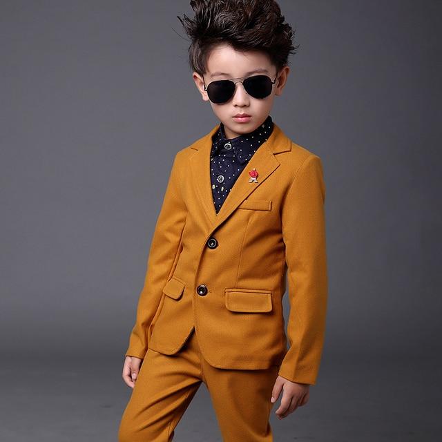 Garçons Blazer Costumes Jaune Smoking Costumes pour Enfants Vêtements De  Mariage Page Garçon Costume Terno Meninos
