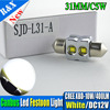1X Auto SV8 5 31mm LED CREE Chips C5W 10W CANBUS Car Festoon Dome Light Wedge