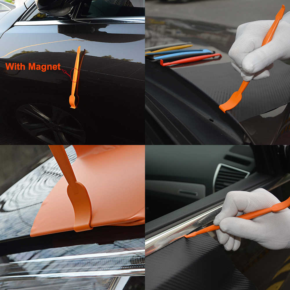 Ehdis 7pcs 탄소 섬유 자동차 스티커 필름 설치 스틱 마그네틱 스퀴지 세트 자동차 도구 비닐 포장 도구 스크레이퍼 자동차 액세서리