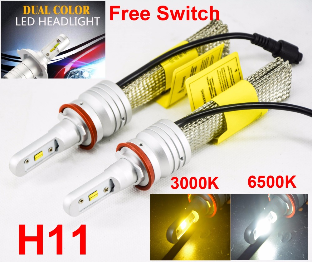 1 Set H8 H9 H11 60W 8000LM Dual Color S5 LED Headlight LUMI ZES Chips Fanless