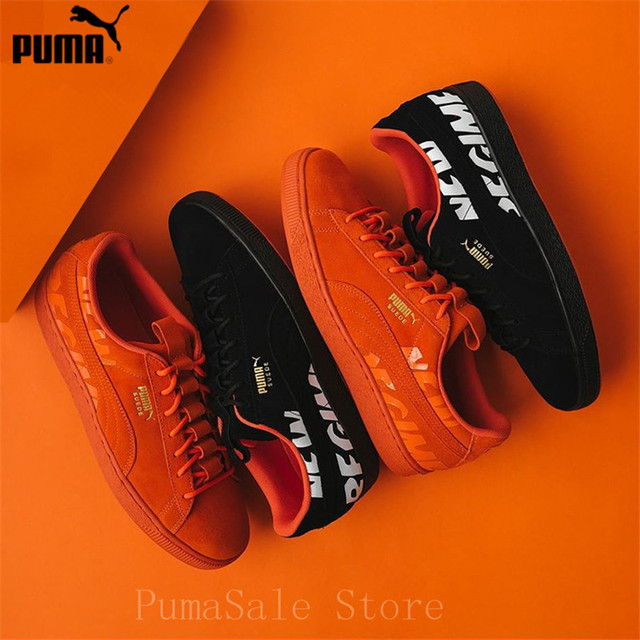 75f7ef59da7 PUMA Suede ATELIER NEW REGIME Men And Women Shoes 366534-02 Black 366534-02  Orange Outdoor Sport Badminton Shoes Size EUR35.5-44