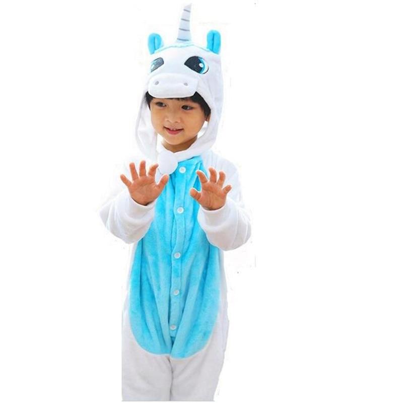 Children Kids Flannel Animal Pajamas Anime Cartoon Costumes Sleepwear Onesie Cosplay Blue/Pink unicorn Onesie Cute Baby jumpsuit