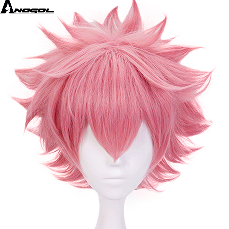Anogol My Hero Academy Boku No Hero Academia Mina Ashido Short Natural Wave Pink Synthetic Cosplay Wig For Halloween Party