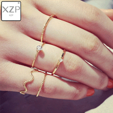 XZP 5pcs/Set Finger Ring For Women Accessories Joint Rings Crystal Wave Circle Knuckle Midi Fashion Jewelry Anillos Bijoux