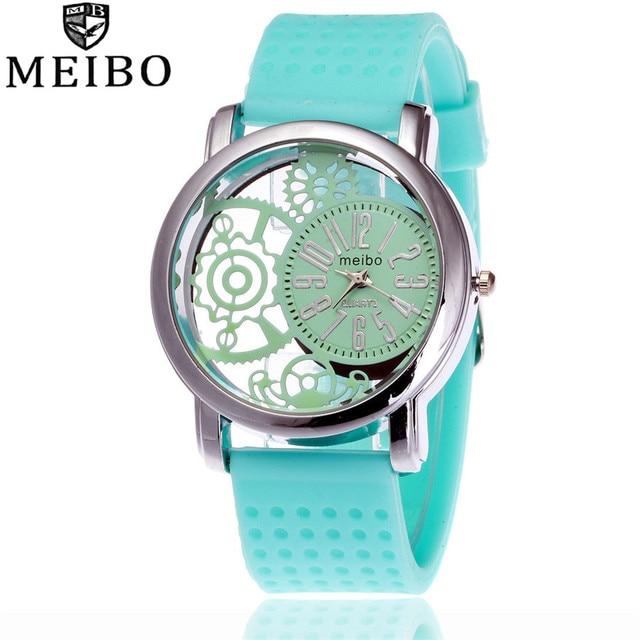 MEIBO Brand Fashion Silicone Rubber Watch Casual Women Dress Quartz Watches Relo