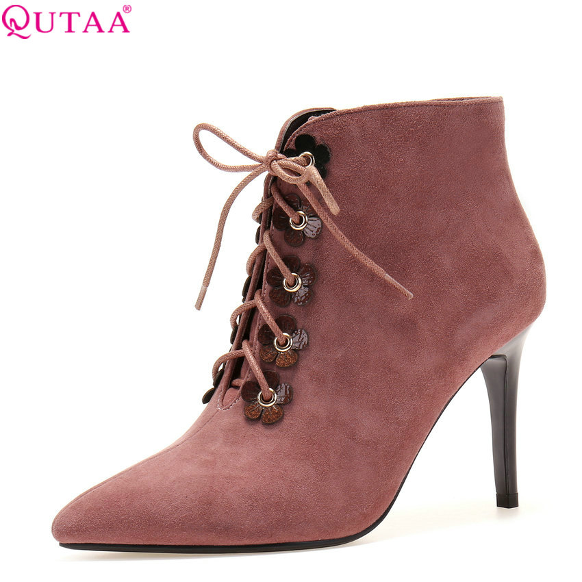 QUTAA 2018 Women Ankle Boots Thin High Heel Pointed Toe Lace Up and Zipper Deisgn Fashion Sexy Women Boots Size  34-39 qutaa 2017 women over the knee high boots all match pointed toe high quality thin high heel pointed toe women boots size 34 43