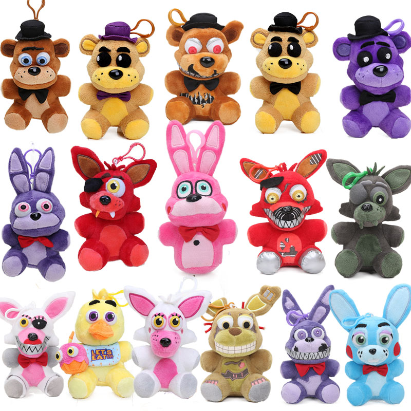 14CM FNAF Foxy Chica Bonnie Golden Freddy Nightmare Fredbear Bear Keychain Five Nights At Freddy's 4 Pendant Plush Toys