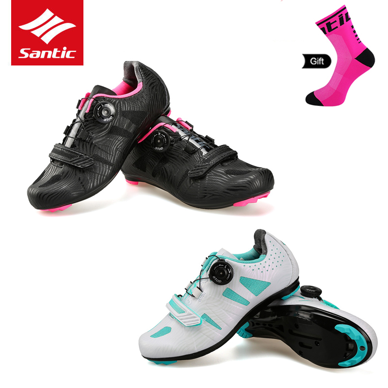 Santic 2018 Women 39 s Cycling Shoes Lace up Lady Bike Sneakers Road Bicycle Shoes Athletic Racing Bicycle Shoes for Riding Sports in Cycling Shoes from Sports amp Entertainment