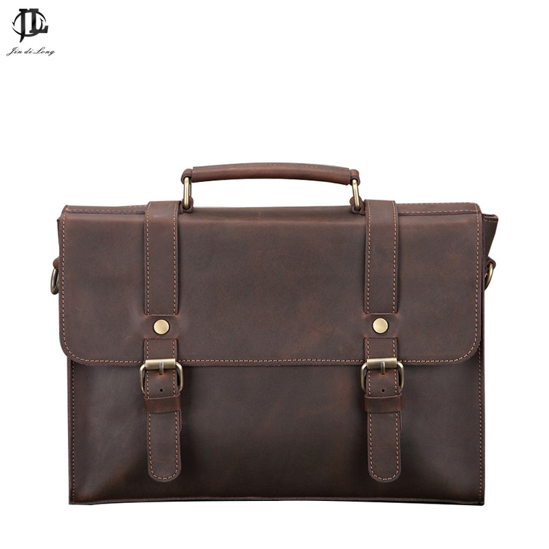Retro Crazy Horse Genuine Leather Men's Classic Briefcase Handbag Business Zipper Laptop OL Messenger Bag Shoulder Handle Bags