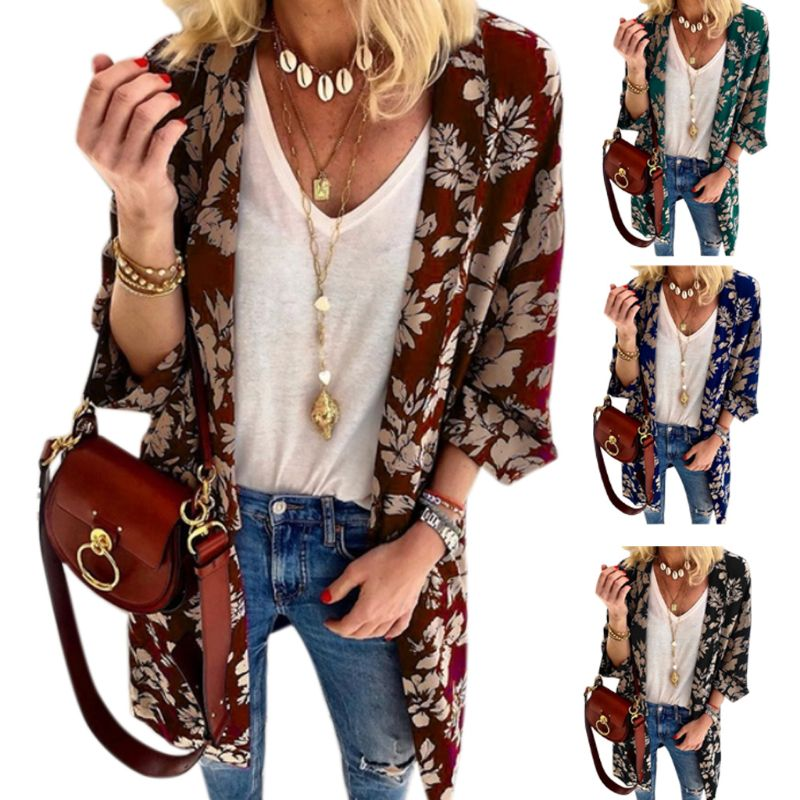 Womens Vintage Floral Print Blouse Spring Summer Open Front Kimono Cardigan 3/4 Batwing Sleeves Jacket Midi Long Slim Outwear