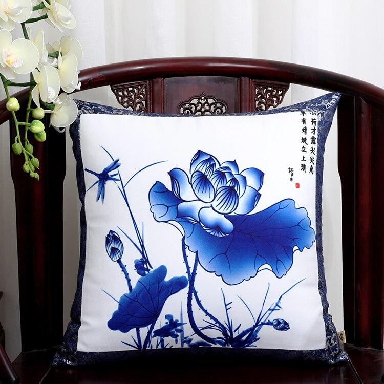 Шикарный элегантный китайский шёлковая наволочка на подушку подушка с цветами крышка Счастливого Рождества диван стул Подушка под поясницу декоративные наволочки