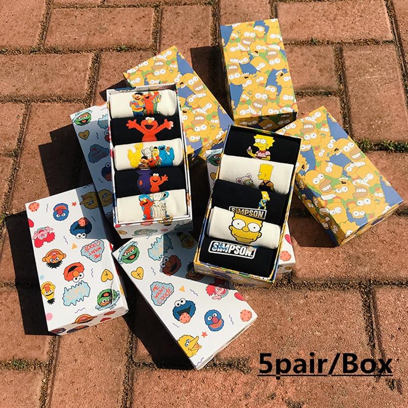 NEW Summer Style Socks Women Cartoon Printing Of Socks Fashion Cute Girl Socks Boxed 5 Pairs/lot