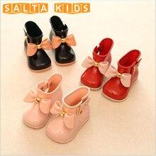 Fille Bottes Bébé Enfants Pluie Bottes Avec Arc Filles Enfants Pluie chaussures Arc Imperméable Enfant Bottes En Caoutchouc Gelée Molle Infantile Chaussures BO28